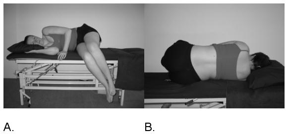 Figure 9 – Technique de posture en ouverture visant à diminuer la pression sur les racines lombaires gauches par la flexion et inclinaison controlatérale. (From Shacklock 2005, Elsevier, Oxford) . Reproduction Interdite. DR