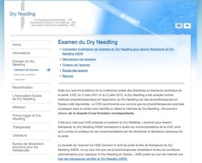 Examen de l'Association Suisse de Dry-needling (ASD) avec la Société Française de Dry-needling (SFDN)